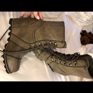 Shoes - Leather wedge boots sz 7 1/2